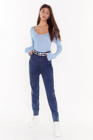 Womens Dark blue Better Wash What You Sayin' Denim Mom Jeans