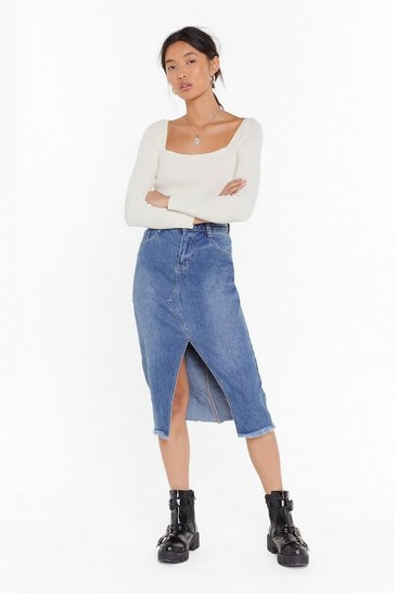 Womens Mid blue Hem Fatale Denim Midi Skirt