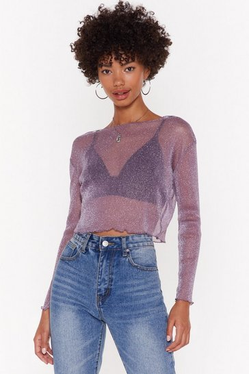 Womens Purple One Hell of a Mesh Glitter Top