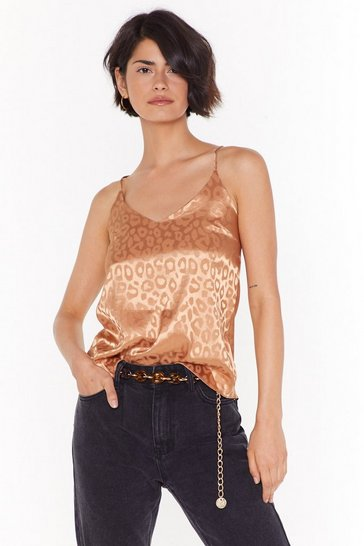 Womens Gold Growl You Doing Leopard Satin Cami Top
