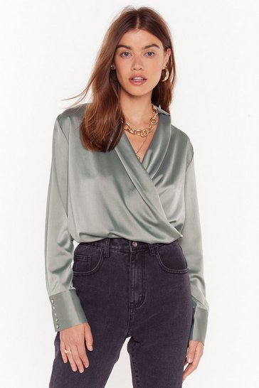 Womens Sage Drape Two Plunging Satin Blouse