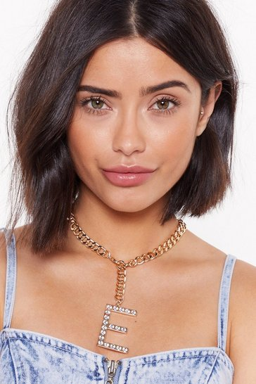 Womens Gold E-verybody Talks Diamante Initial Necklace