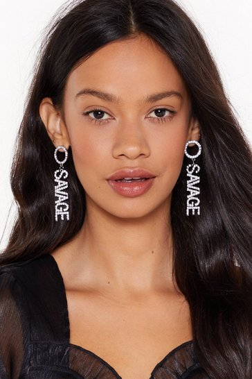 Womens Silver You Say Savage Diamante Drop Earrings