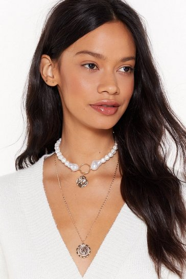 Womens White That's My Pearl Chunky Layered Necklace