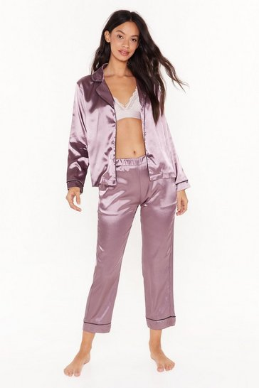 Womens Purple Eat Sleep Repeat Satin Pajama Set