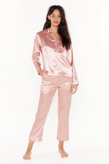 Womens Peach Eat Sleep Repeat Satin Pajama Set