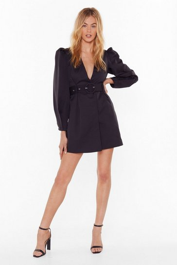 Womens Black Keep Me in the Loop Puff Sleeve Blazer Dress