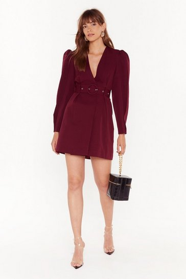 Womens Burgundy Keep Me in the Loop Puff Sleeve Blazer Dress