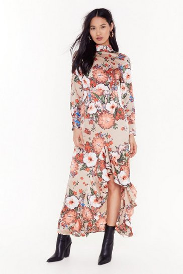 Womens Nude Ignoring Floral the Facts High Neck Maxi Dress