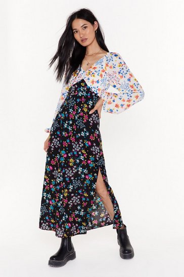 Womens Black Over the Love Mixed Floral Maxi Dress