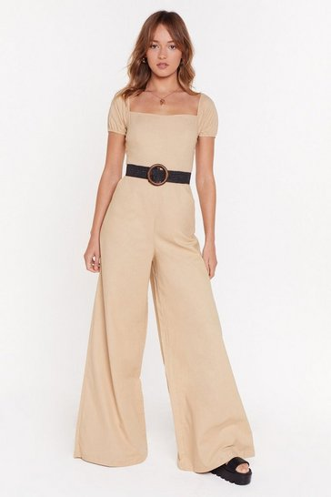 Womens Sand Taking Square of Business Wide-Leg Jumpsuit
