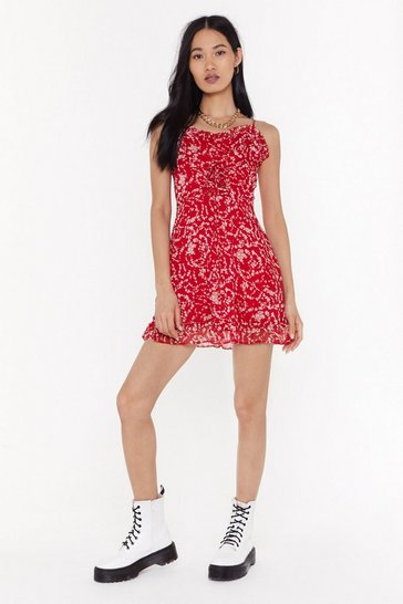 Red Stay Grounded Ruffle Mini Dress