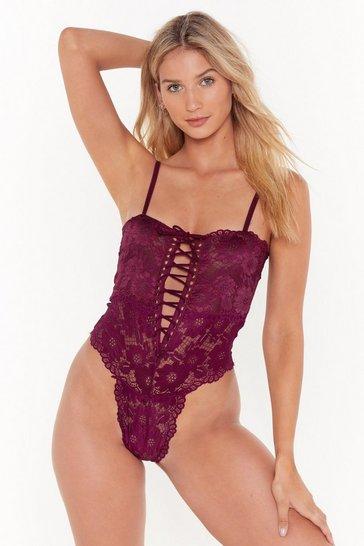 Womens Burgundy Lace and Time High-Leg Bodysuit