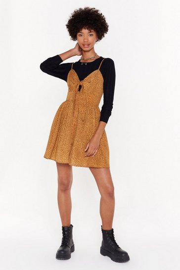 Womens Tan Love Doesn't Ask Tie Button-Down Mini Dress
