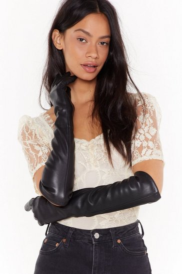 Womens Black Point the Finger Faux Leather Long Gloves