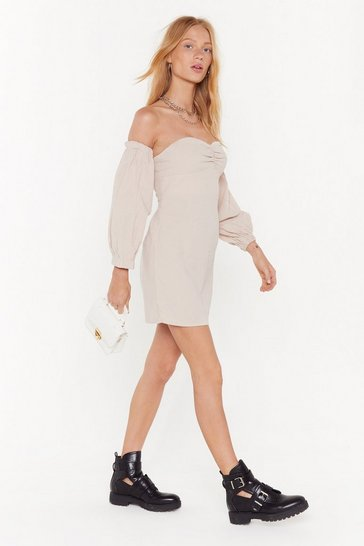 Womens Ecru Take Off-the-Shoulder Puff Sleeve Dress