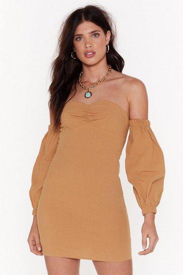 Turmeric Take Off-the-Shoulder Puff Sleeve Dress
