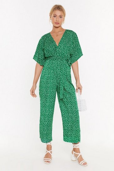 Womens Green Ditsy Jumpsuit