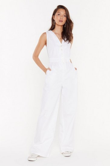 Womens White Jump Into My Life Wide-Leg Jumpsuit