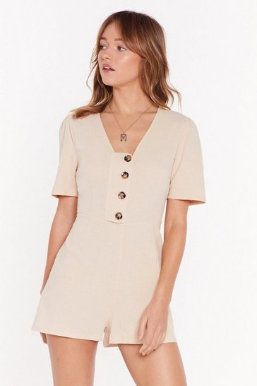 Womens Sand What Will V Will V Button-Down Romper