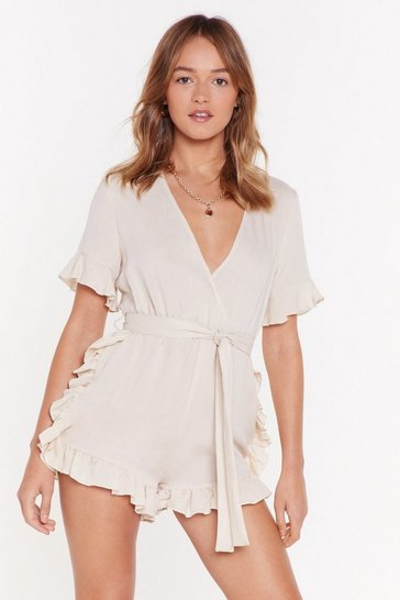 Womens Cream You Give Me Frills Ruffle Linen Romper