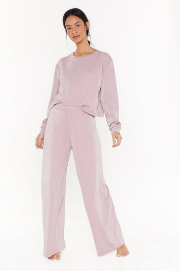 Womens Pink No Bad Vibes Wide-Leg Lounge Pants