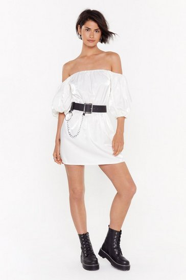 Womens White Take It or Sleeve It Off-the-Shoulder Dress