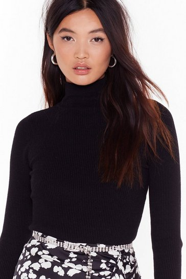 Womens Black I Neck Your Pardon Turtleneck Sweater