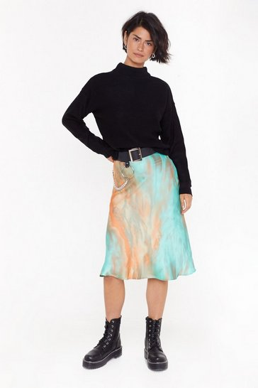 Womens Green Tie Dye Bias  Cut Midi Skirt