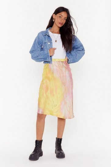 Womens Yellow Apple of My Dye Satin Midi Skirt