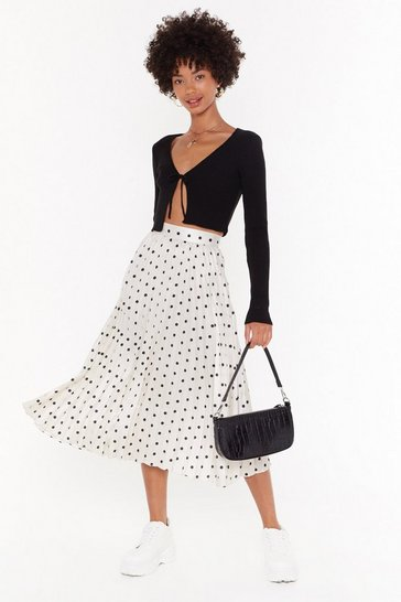 Womens Ivory You're Totally Dot Pleated Midi Skirt