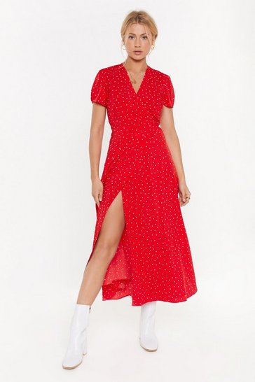 Womens Red Don't Spot the Party Polka Dot Maxi Dress
