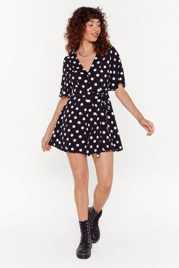 Womens Black Polka Dot Playsuit