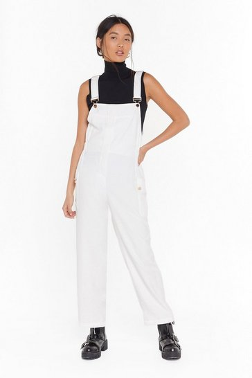 Womens White Work for It Cropped Overalls