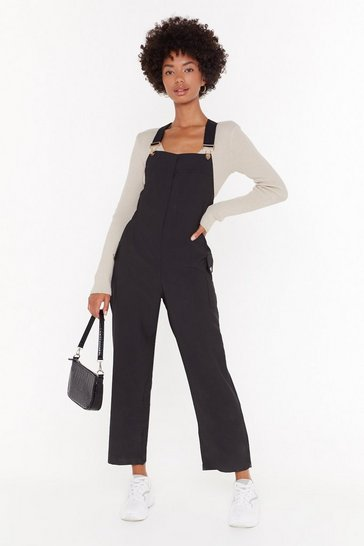 Womens Black Work for It Cropped Overalls