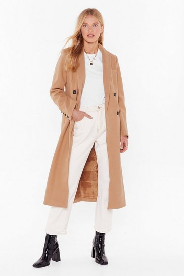 Seeing Double Breasted Trench Coat, Camel, FEMMES