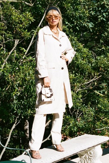 Womens Cream That's Stitch Belted Trench Coat