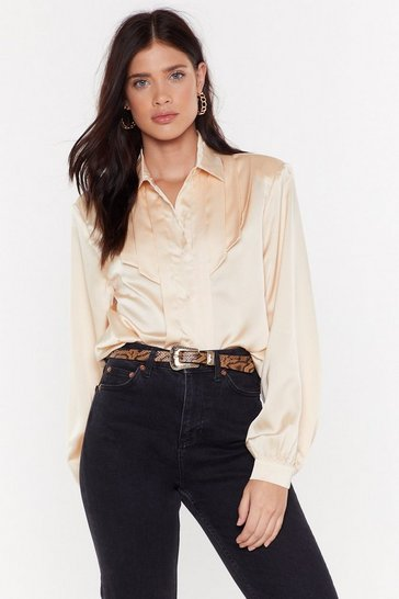 Womens Cream Dish the Shirt Satin Shirt