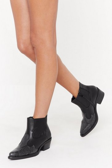 Black Ain't No Quitter Faux Leather Western Boot