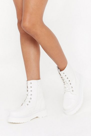 Womens White Step Up Your Game Lace-Up Biker Boots