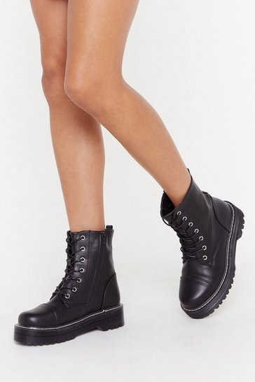 Womens Black Stiched Up Faux Leather Lace-Up Boot