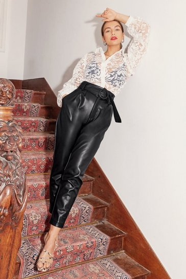 Womens Black Taper to You Faux Leather Pants