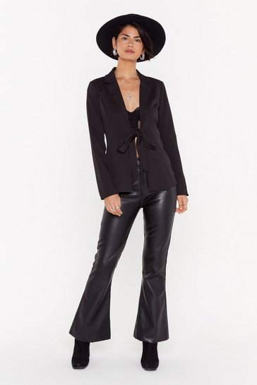 Womens Black Let 'Em Stop and Flare Faux Leather Pants