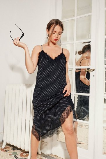 Black Polka Dot Again Lace Trim Midi Dress