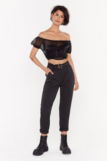 Womens Black Line Waits for No One Pinstripe Tapered Pants