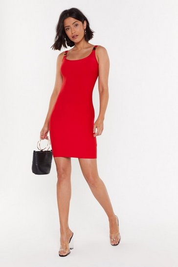 Red Clip It in the Bud Buckle Mini Dress