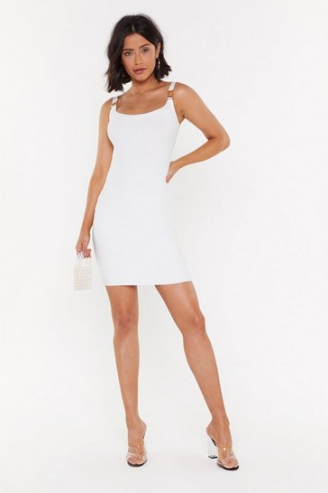 White Clip It in the Bud Buckle Mini Dress