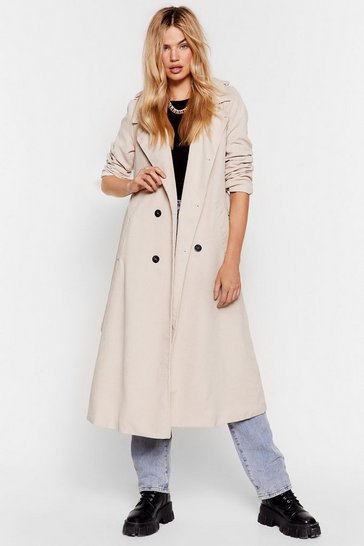 Womens Ecru Cover Girl Corduroy Trench Coat