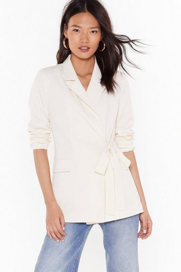 Womens Cream I've Got This Tie Blazer