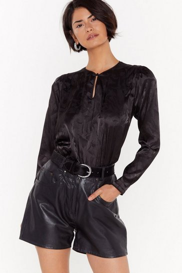 Womens Black Sleek Peak Satin Jaquard Blouse